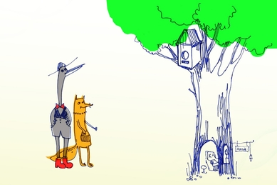Журавль и лисица