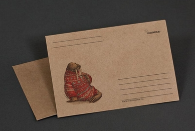 «Walrus in sweater with mug» craft paper envelope