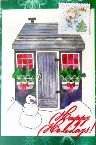 Набор «Новогодние праздники» (открытка+марка)