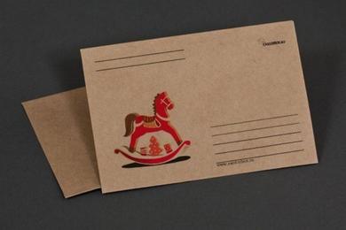 Craft-paper envelope «Wooden horse»