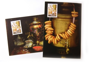 «Tea party» set (2 postcards + 2 postage stamps)