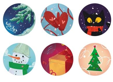 «New Year balls» stickers